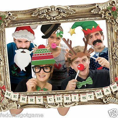 Photo Booth Props With Frame Christmas Theme Festive Holiday Party