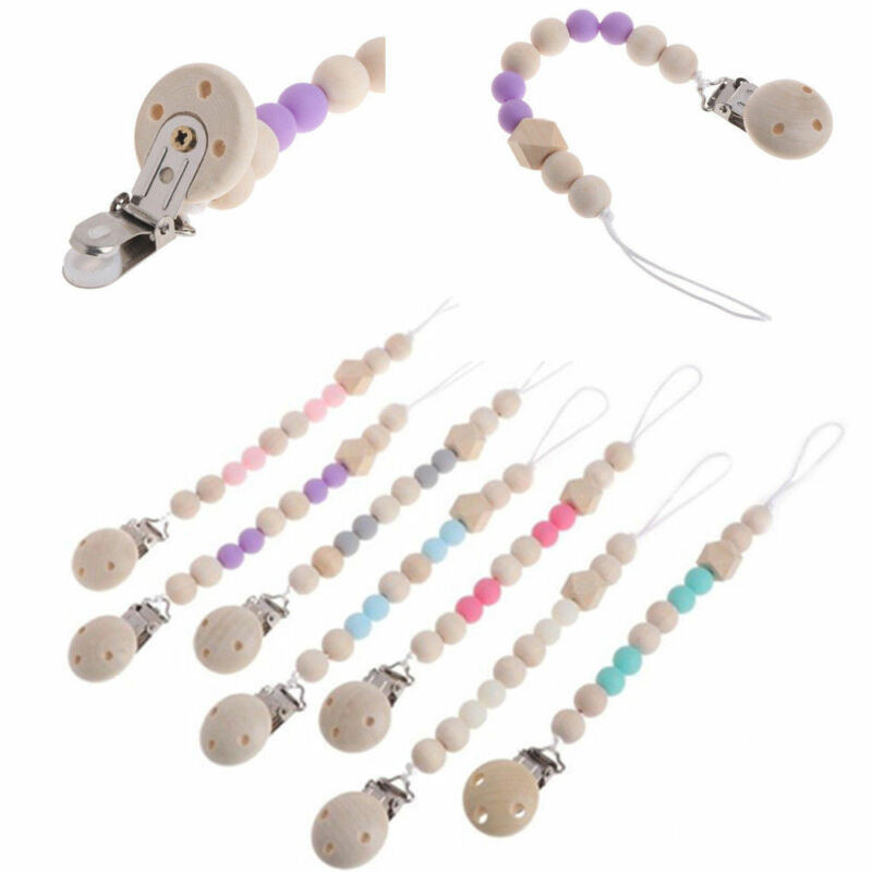 New Wooden Baby Pacifier Clip Chain Holder Nipple Leash Strap Pacifier Soother 2