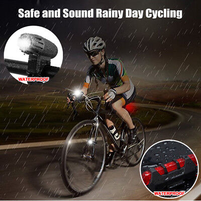Rechargeable LED Bike Bicycle Light USB Waterproof Cycle Front Back Headlight 3