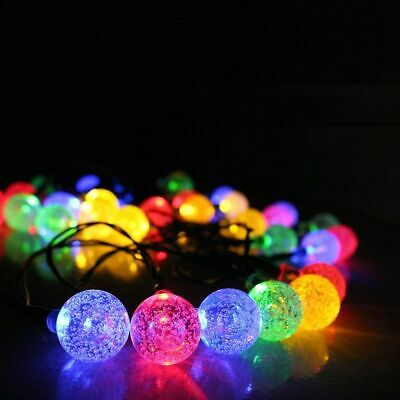 50 LED solaire de jardin alimenté fée partie chaîne boule de cristal lumière 8