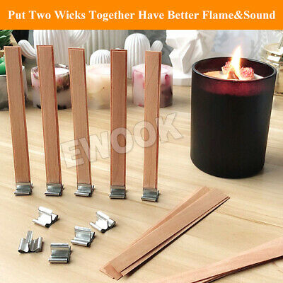 50X Wooden Candle Wicks Core Supplies With Sustainer DIY Soap Making for Party 7