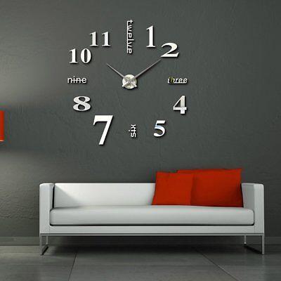 Large DIY 3D Frameless Number Wall Clock Mirror Sticker Home Office Room Decor 5