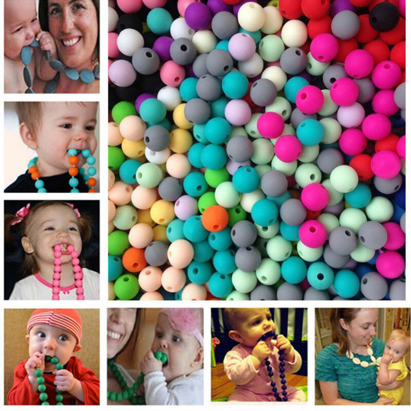 20PCS BPA Free Silicone Beads Pacifier Clip Baby Teething DIY Teether Necklace 2