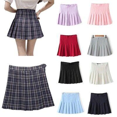 Girls School Uniform Skater Skirt Kids High Waist Pleated Skirt Tennis for Women 2