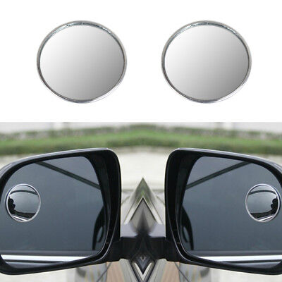 2 x DRIVER SIDE WIDE ANGLE ROUND CONVEX CAR AUTO REAR VIEW MIRROR BLIND SPOT