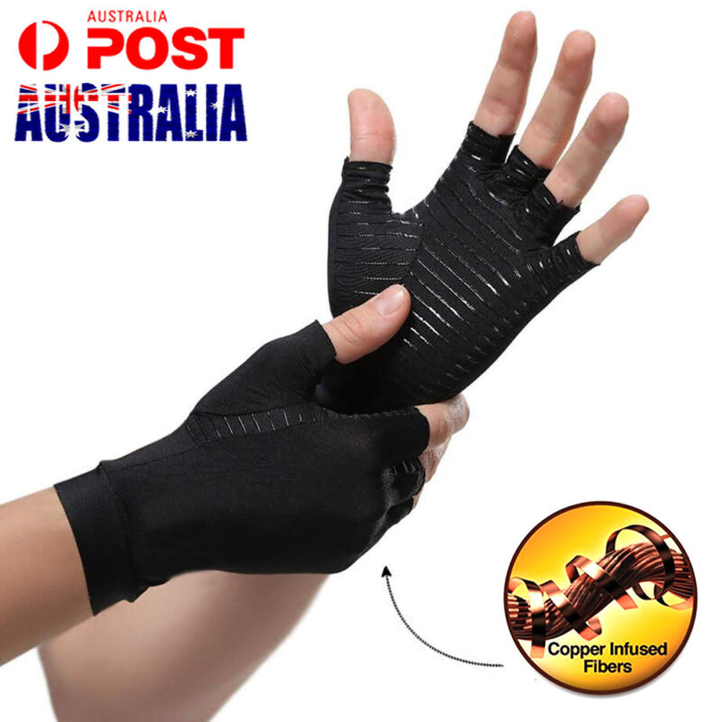 A Pair Compression Copper Arthritis Gloves Hand Wrist Support Pain Relief Brace 3