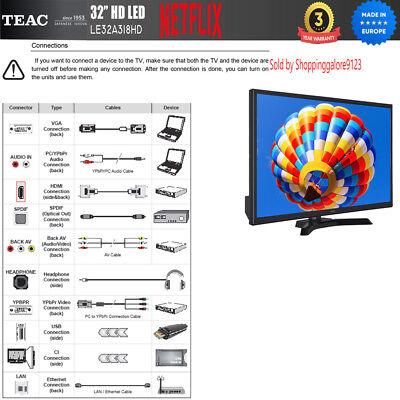 "TEAC 32"" Inch HD SMART TV Netflix Youtube WIFI PVR APP Made Europe 3 Yr Warranty 5"