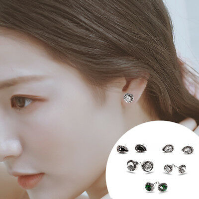 5 Pairs Bohemian Crystal Stud Earrings Cubic Zirconia Water Drop Earring Jewelr 5