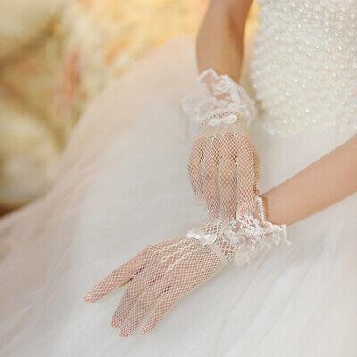 Ladies Fishnet Mesh Short Gloves Black Lace Bridal Evening Party Goth Burlesque 2