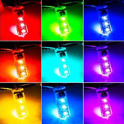 2pcs T10 W5W 5050 RGB Remote Control Car LED Light 6SMD Colorful Side Light Bulb 11
