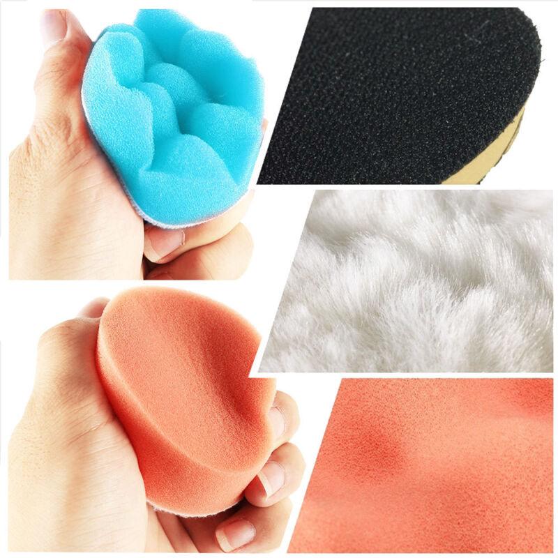 22X Coche máquina de pulir almohadillas esponja y lana pulido encerado kits 4