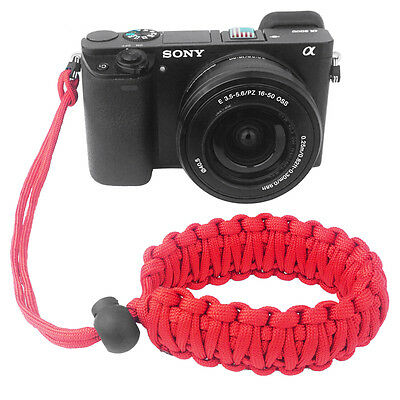 Red Braided 550 Paracord Adjustable Camera Wrist Strap Bracelet 2