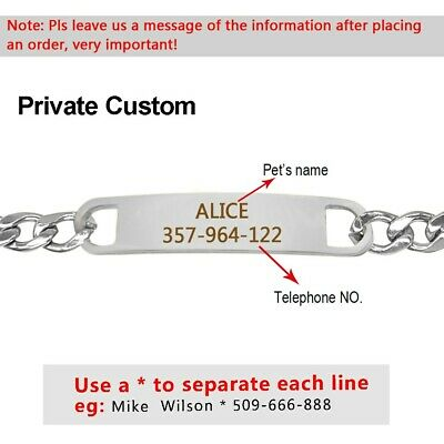 Personalized Stainless Steel Chain Dog Collar With Free Engraved ID Name Tags 3