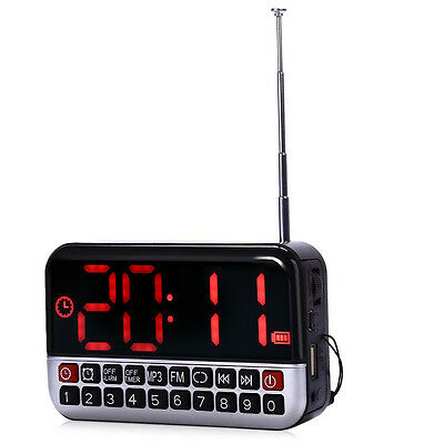 Large LCD Screen Digital Alarm Clock FM Radio Mini Portable Speaker MP3 Player