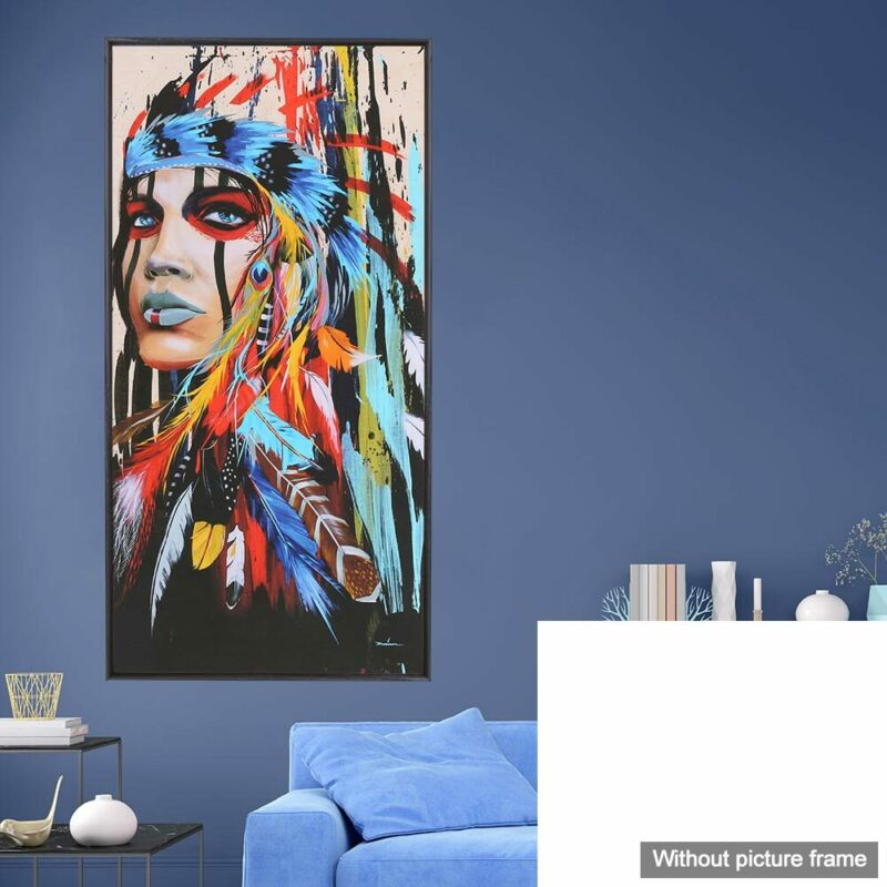 Abstract Indian Woman Canvas Oil Painting Print Picture Home Wall Art Decor UK 2