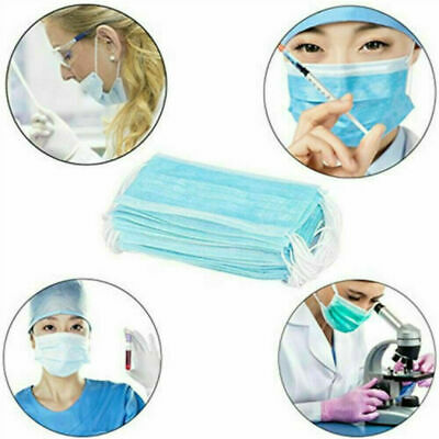 50 PACK Disposable Face Mask Medical Surgical Dental 3-Ply Earloop Mouth Cover 8