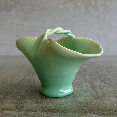 Mid Century Florann Pottery Small Basket Vase 1958-1968 Drip Glazed Australian