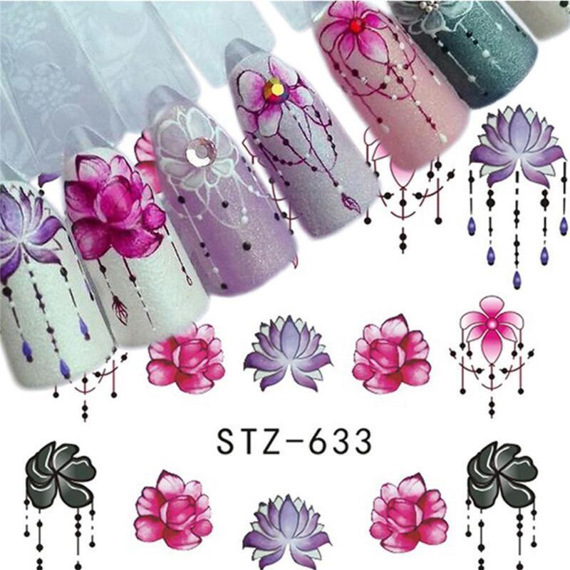 6 Sheet Water Transfer 3D Flower Design Manicure Nail Art Stickers Decals DIY 2