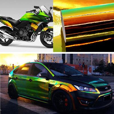 "*12/""x60/"" Holographic Black Rainbow Neo Chrome Car Vinyl Wrap Bubble Free Sticker"