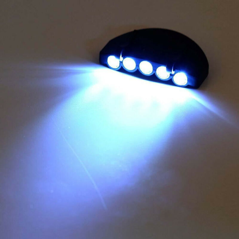 New Outdoor Clip On 5 LED Head Cap Light Head Lamp Torch Fishing Camp Hunting 6