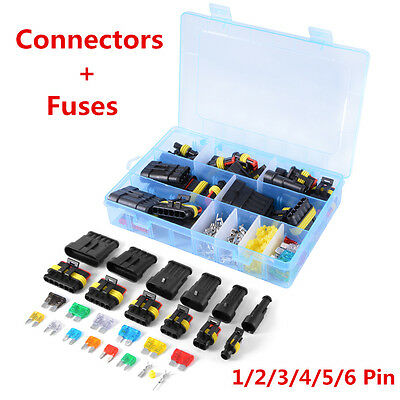 Car Electrical Connector Terminal 1/2/3/4/5/6 Pin Way +Fuses With Box New MA867