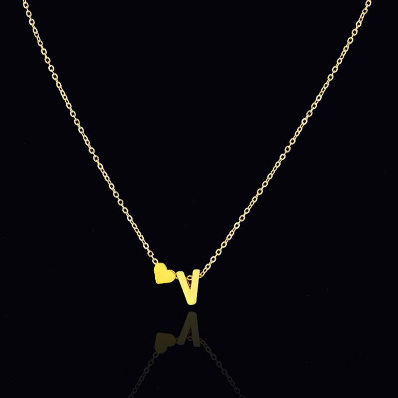 Mujer Collar De Cadena Gargantilla Colgante corazón 26 letras Joyería 5