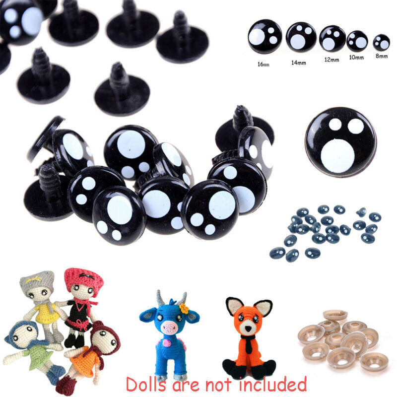 100Pcs 8/12/16 mm Plastic Safety Eye Nose for Teddy Bear Doll Animal Toy Craft-- 2