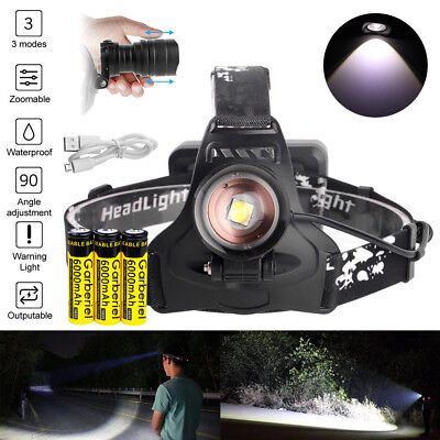 990000LM XHP70 LED Headlamp Zoom USB Rechargeable 18650 Headlight Super Bright 3