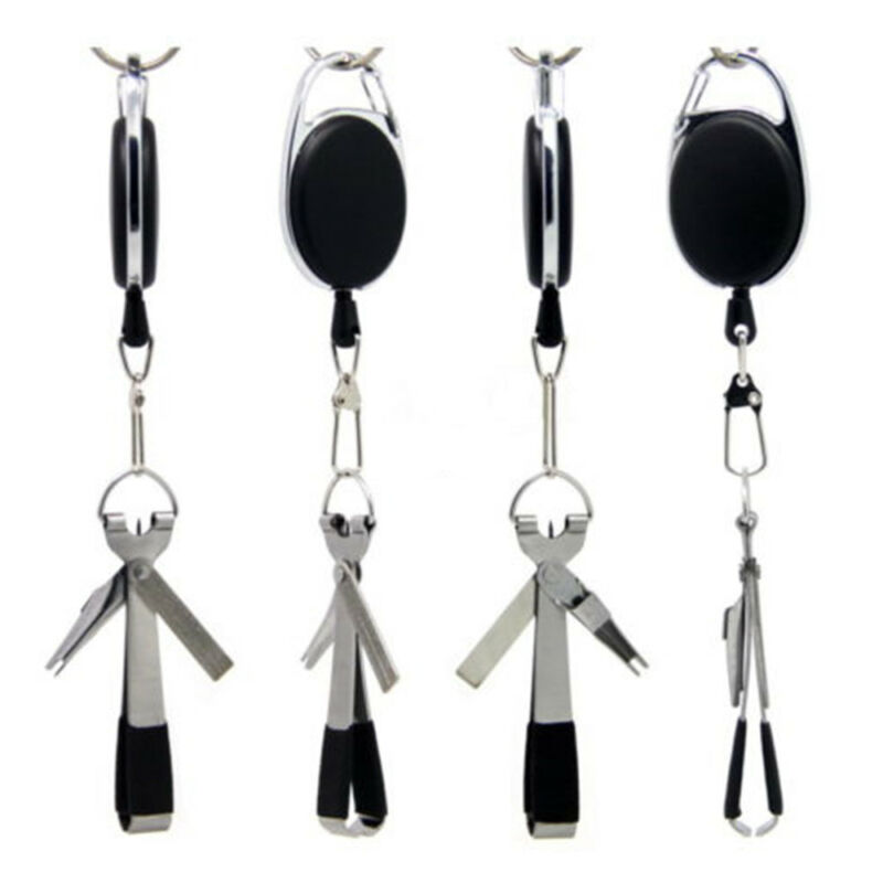 Useful Quick Knot Tool 4 in 1 Fly Fishing Clippers Line Nipper Tying w/ Zinger~ 4