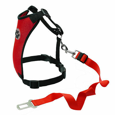 Breathable Air Mesh Dog Car Harness for Small Large Dogs Travel Seat belt Clip 4