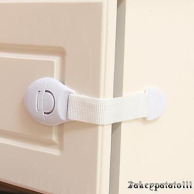 10X Child Adhesive Kid Baby Safety Drawer Door Lock Cupboard Cabinet Belt White 5