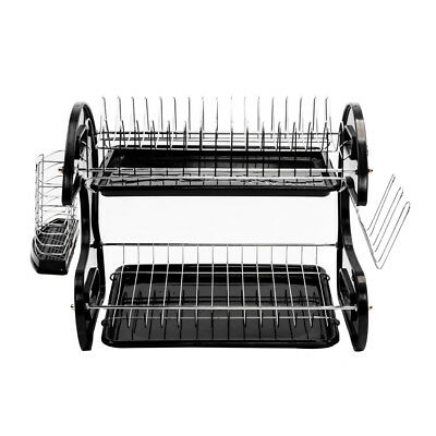 Large Capacity 2 Tier Dish Drainer Drying Rack Kitchen Storage Stainless Steel 2