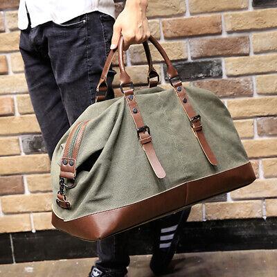 Vintage Men's Canvas Leather Travel Duffle Bag Shoulder Weekend Luggage Gym Tote 2
