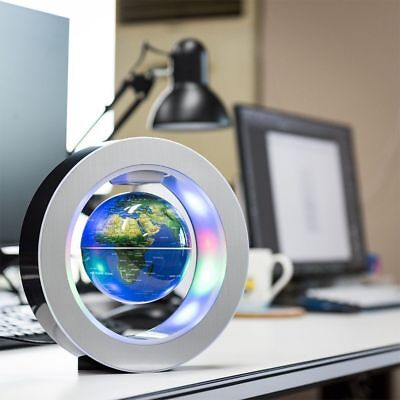 9'' Round O Shape Magnetic Levitation Floating Globe World Map w/ LED Light Blue 9