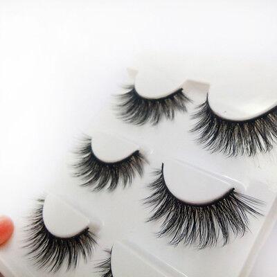 3 Pairs 100% Real 3D Mink Makeup Cross False Eyelashes Eye Lashes Handmade 12