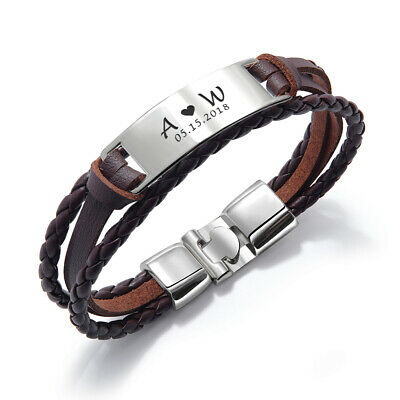 PERSONALISED Fathers Day Gift Mens Leather Bracelet Engraved ID Birthday Wedding 6