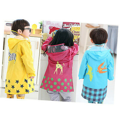 Cute All Seaon Thick Rain Coat W//Hood Rainwear Outdoor Jacket for Kids Girl Boy