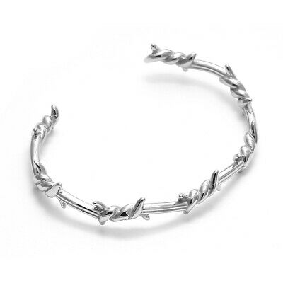 Bracciale da uomo in acciaio inox rigido braccialetto con filo spinato 3