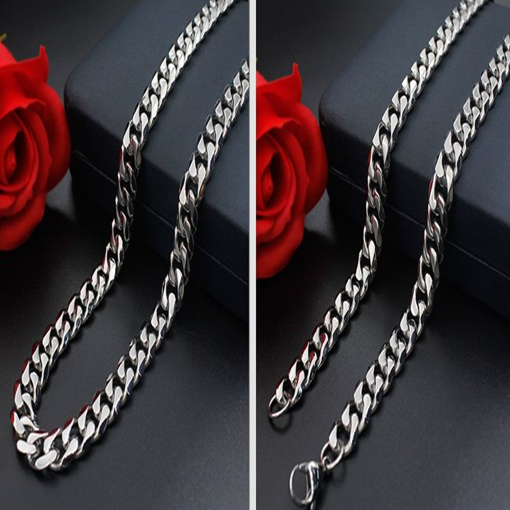 Man Women 316L Stainless Steel 2mm/3mm/4mm/5mm Silver Cuban Curb Chain Necklace 4