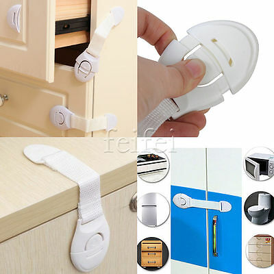 1-10x Child Children Baby Kids Drawer Door Cabinet Cupboard Toddler Safety Locks 3