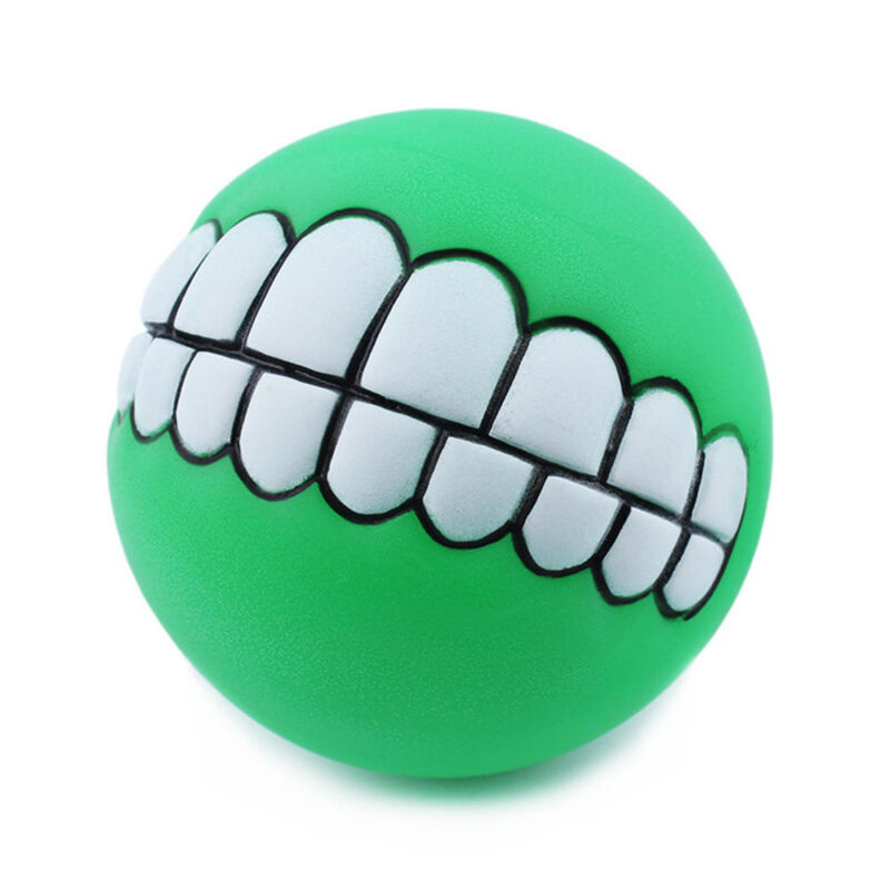 Pet Dog Ball Teeth Funny Silicon Toy Chew Squeaker Squeaky Sound Dogs Play Toy U 4