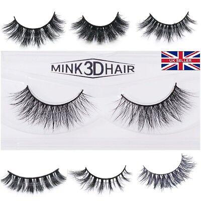 3D Mink Eyelashes Pairs natural False Long Thick Handmade Lashes Makeup UK