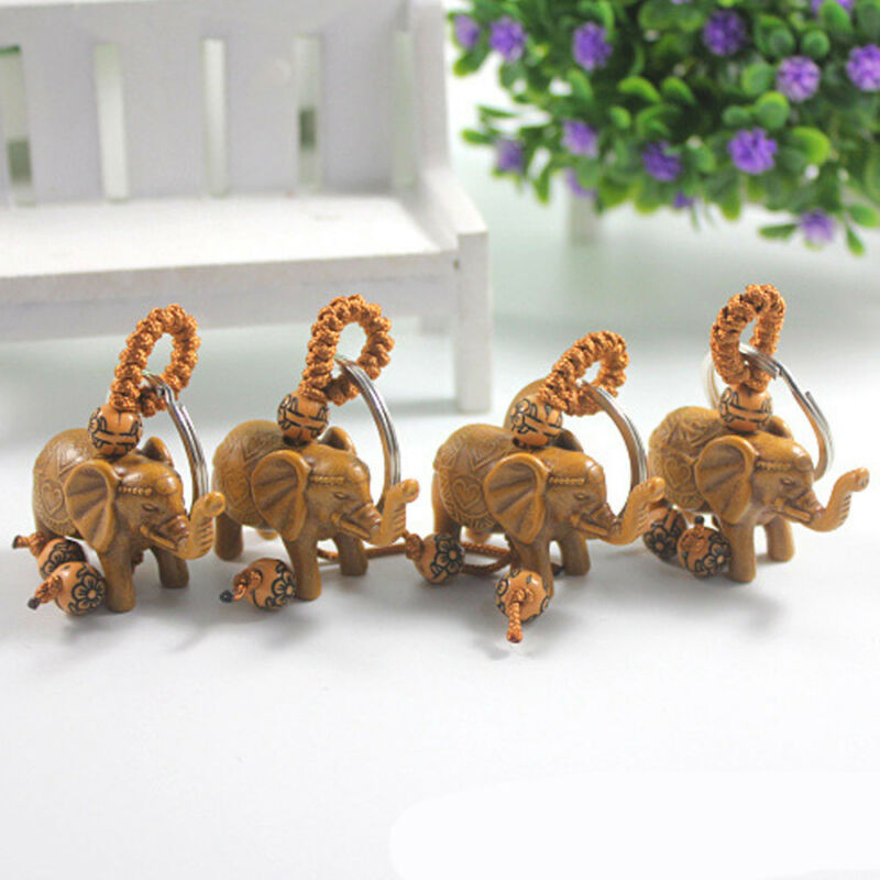 Lucky Elephant Carving Wooden Pendant Keychain Key Chain Ring Evil Defends Gift 10