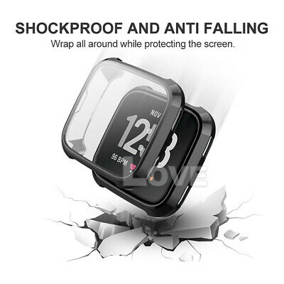 Soft TPU Silicone Shell Frame Full Case Cover Screen Protector for Fitbit Versa 6