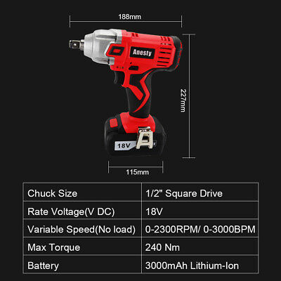 "18V Lithium Ion Cordless Impact Wrench Li-ion 1/2"" Drive Ratchet Rattle Nut Gun 3"