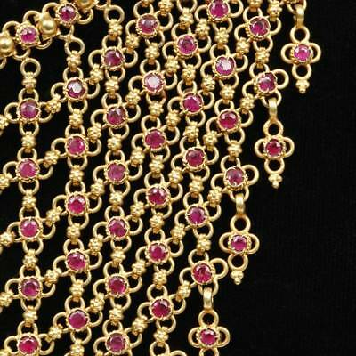 Stunning Gold And 219 Individually Set Rubies Necklace Adjustable India Jewelry 4
