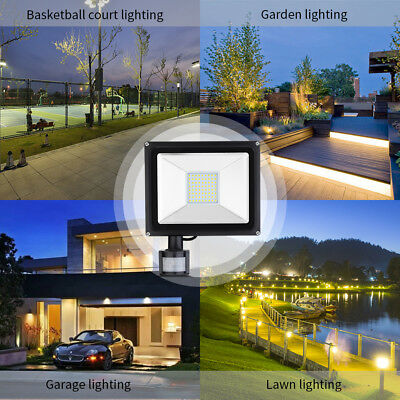 LED Floodlight Motion Sensor PIR 20/50/100W Security Light Outdoor Garden Lights