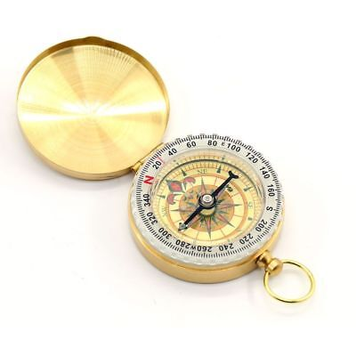 Vintage Brass Noctilucent Pocket Compass Hiking Camping Watch Style Retro ONE 2