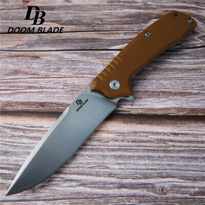 "7.9"" FH11 60-61HRC Knives Ball Bearing D2 Blade G10 Handle Folding Knife Camping 3"