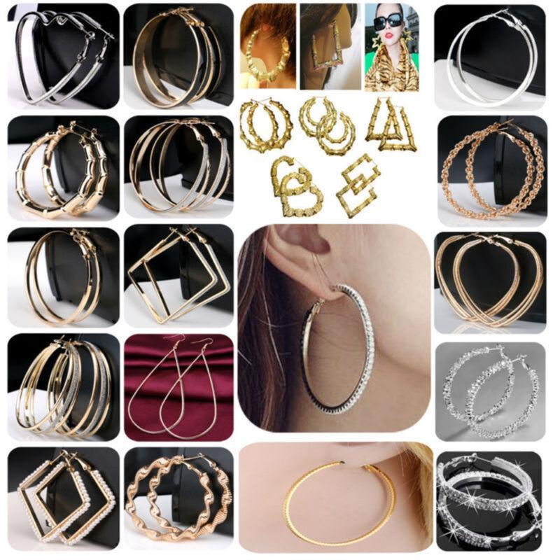Women Simple Large Hoop Earrings Thin Metal Rope Big Hoops Heart Silver Jewelry 2